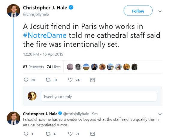 """Ekrano kopija/Christopherio J.Hale'o įrašas socialiniame tinkle """"Twitter"""""""
