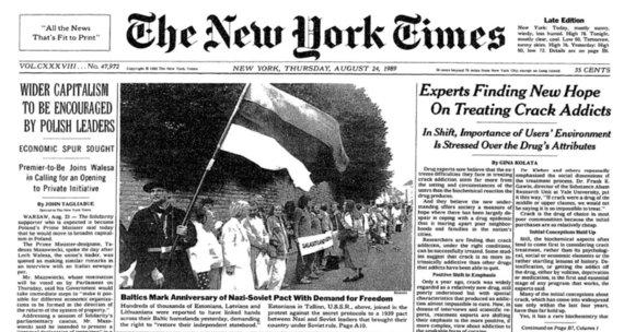 """Ekrano kopija/""""The New York Times"""" apie Baltijos kelią 1989 metais"""