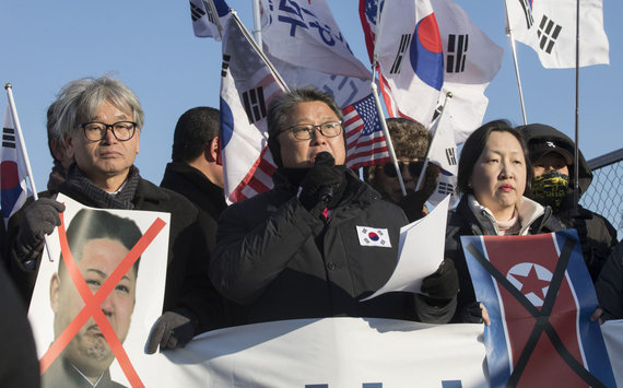 """""""Scanpix""""/""""Sipa USA"""" nuotr./Protestuotojai Pietų Korėjoje"""