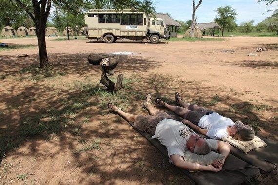 """Kelionių organizatoriaus """"GRŪDA"""" nuotr./Atokvėpio minutė Serengečio nacionalinio parko stovyklavietėje, Tanzanijoje"""