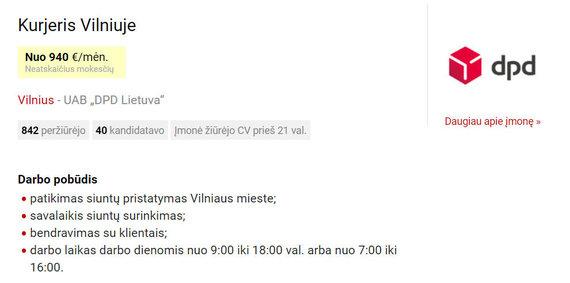 "CVbankas.lt nuotr./""DPD"" darbo skelbimas"