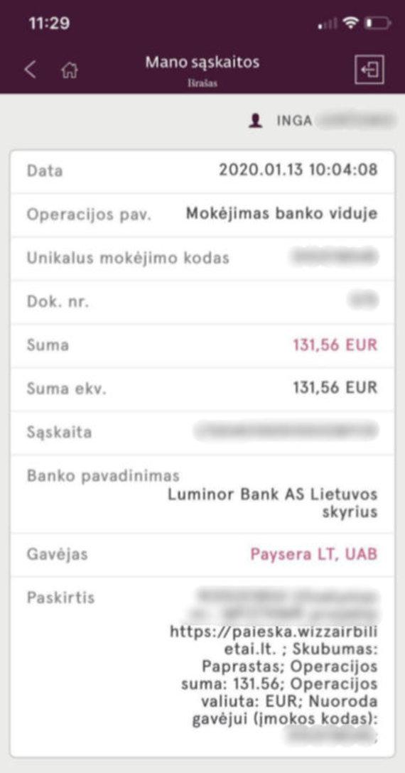 Telefono ekrano nuotr./Mokėjimo išrašas