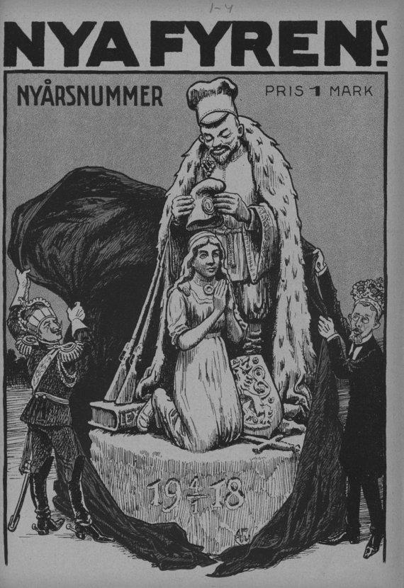 """Suomijos nacionalinis archyvas/Suomijos žurnalo ,,Fyren"""" viršelis, vaizduojantis Rusiją, pripažįstančią Suomijos Nepriklausomybę. 1918 m. sausio mėn."""