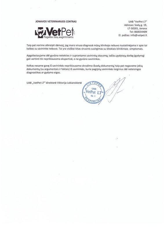 """Jonavos veterinarijos centro """"VetPet"""" atsiųstas aiškinamasis raštas"""