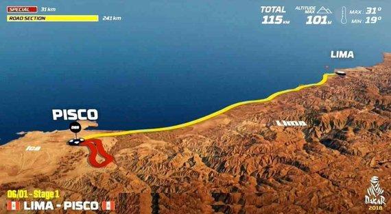 Organizatorių nuotr./Sausio 6 d. (šeštadienis). Lima-Piskas. Bendra dienos rida: 272 km (greičio ruožai: 31 km)