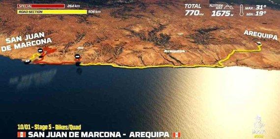Organizatorių nuotr./Sausio 10 d. (trečiadienis). San Chuan de Markona–Arekipa. Bendra dienos rida motociklininkams: 770 km (greičio ruožai: 264 km), automobiliams – 932 km (greičio ruožai: 267 km)