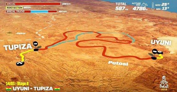 Organizatorių nuotr./Sausio 14 d. (sekmadienis). Ujūnis–Tupisa. Bendra dienos rida: 754 km (greičio ruožai: 498 km)