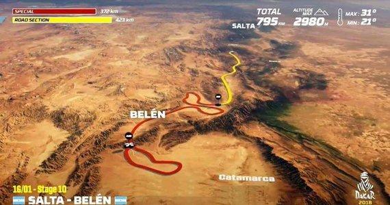 Organizatorių nuotr./Sausio 16 d. (antradienis). Salta-Belenas. Bendra dienos rida: 795 km (greičio ruožai: 372 km)