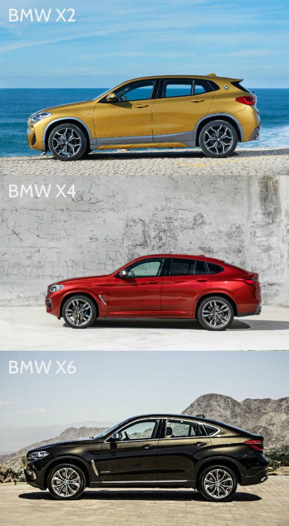15min nuotr./BMW X2, BMW X4 ir BMW X6