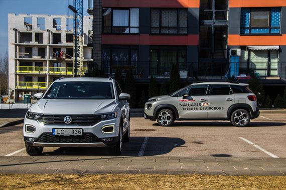 """Aivaro Grigelevičiaus nuotr./""""Citroën C3 Aircross"""" prieš """"Volkswagen T-Roc"""": miesto džiunglių užkariautojai"""