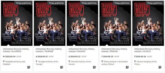 """Visoje Lietuvoje atšaukti """"Buvusių moterų reikalų"""" spektakliai"""