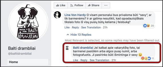 """Socialinių tinklų nuotr. /Restorano """"Balti drambliai"""" įrašai feisbuke"""