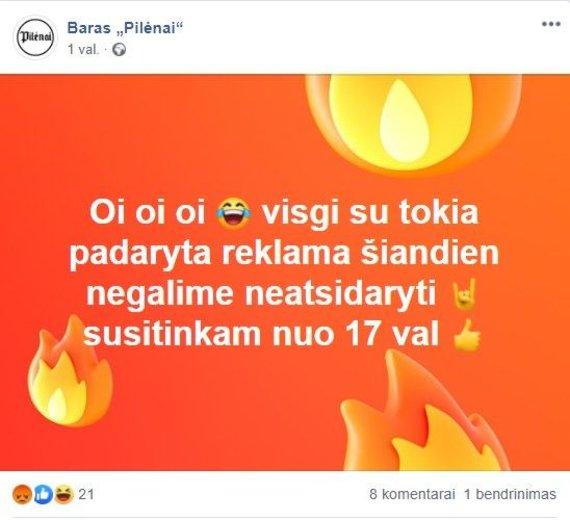 """Socialinių tinklų nuotr. /Po kilusio skandalo baras """"Pilėnai"""" pasidalino piktdžiugiška žinute"""