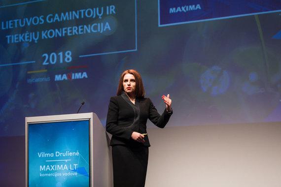 """Akimirka iš """"Lietuvos gamintojų ir tiekėjų konferencijos""""/""""Maxima LT"""" komercijos vadovė Vilma Drulienė"""