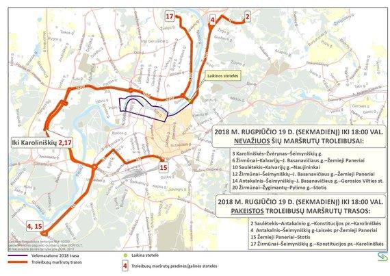 Organizatorių nuotr./Troleibusų maršrutų trasos