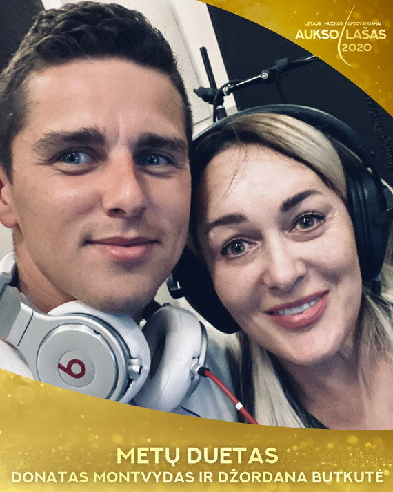 """""""Lietaus"""" nuotr./""""Aukso lašas 2020"""" metų duetas – Donatas Montvydas ir Džordana Butkutė"""