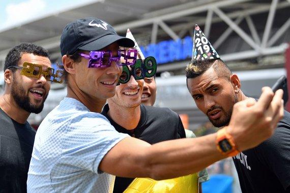 """AFP/""""Scanpix"""" nuotr./Rafaelis Nadalis, Andy Murray, Jo-Wilfriedas Tsonga ir Nickas Kyrgiosas"""