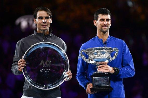 """""""Reuters""""/""""Scanpix"""" nuotr./Rafaelis Nadalis ir Novakas Džokovičius"""