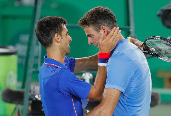 """""""Scanpix""""/AP nuotr./Novakas Džokovičius ir Juanas Martinas Del Potro Rio Olimpinėse žaidynėse"""