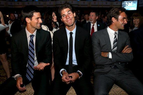"""AFP/""""Scanpix"""" nuotr./Novakas Džokovičius, Rafaelis Nadalis ir Rogeris Federeris"""