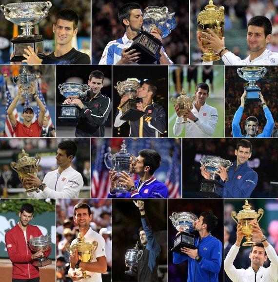 """AFP/""""Scanpix"""" nuotr./Novakas Džokovičius su 20 """"Didžiojo kirčio"""" trofėjų"""