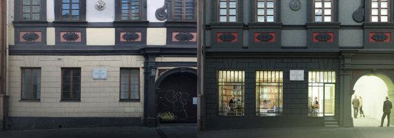 DO architects vizualizacija/Dominikonų gatvės vaizdas - dabar ir po restauracijos.