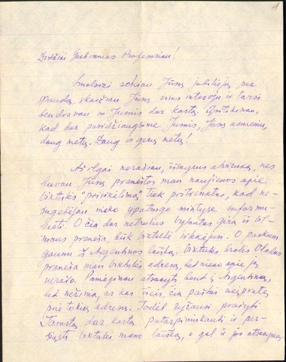 Martyno Mažvydo bibliotekos rankraščių skyriaus nuotr., F205-151, lap.1/Viktoro Čečetos laiškas, kuriame jis rašo sužinojęs apie tai, kad jo žmona vis dar gyva.