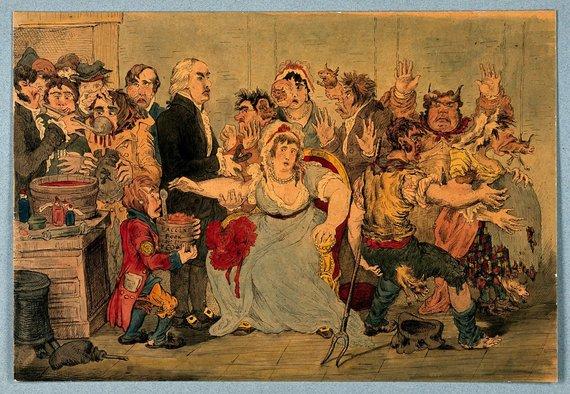 1802 metų karikatūra, kurioje vaiztuojamas pacientus skiepijantis E.Jenneris – paskiepyti pacientai įgauna karvių bruožų