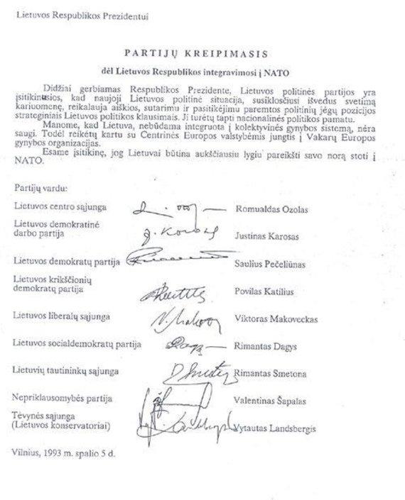 Užsienio reikalų ministerijos nuotr./Partijų kreipimasis dėl Lietuvos integravimosi į NATO