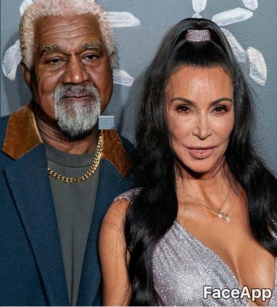 """""""Twitter"""" nuotr./Programėlės """"FaceApp"""" vartotojai nusprendė pasendinti reperį Kanye Westą ir jo žmoną Kim Kardashian"""