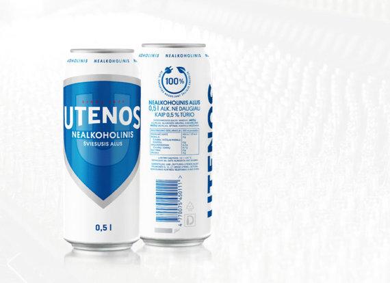 """ŠUA nuotr./Specialiu ženkliuku žymima """"Utenos""""nealkoholinio alaus pakuotė"""