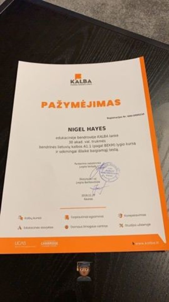 """""""Instagram"""" nuotr./N.Hayesas išlaikė lietuvių kalbos testą"""