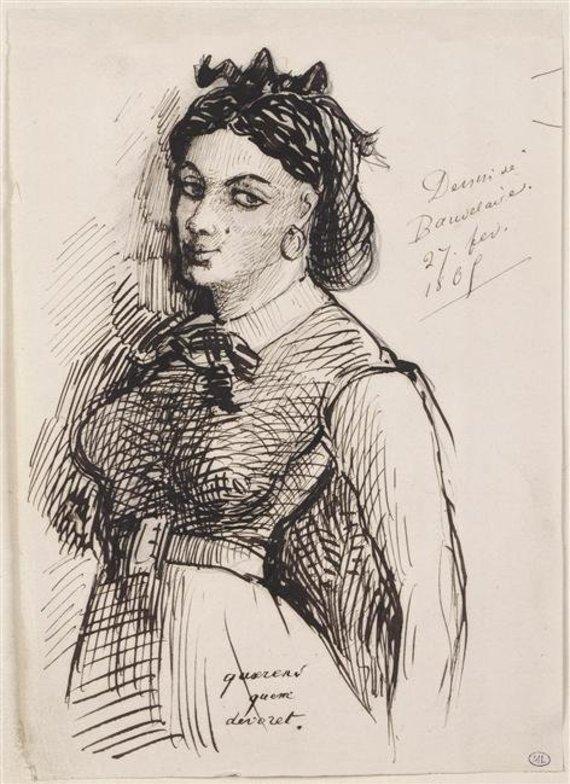 Wikipedia nuotr./Charles'io Baudelaire'o piešinys, kuriame jis įamžino savo mylimąją Jeanne Diuval