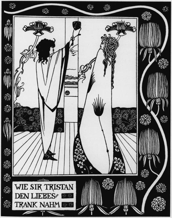 """""""Scanpix"""" nuotr./""""Kaip seras Tristramas gėrė meilės gėrimą"""" (angl. """"How Sir Tristram drank of the love drink""""), Aubrey Beardsley, 1893 metai"""