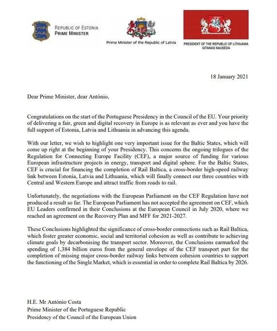 """15min nuotr./Baltijos šalių lyderių laiškas dėl """"Rail Baltica"""""""