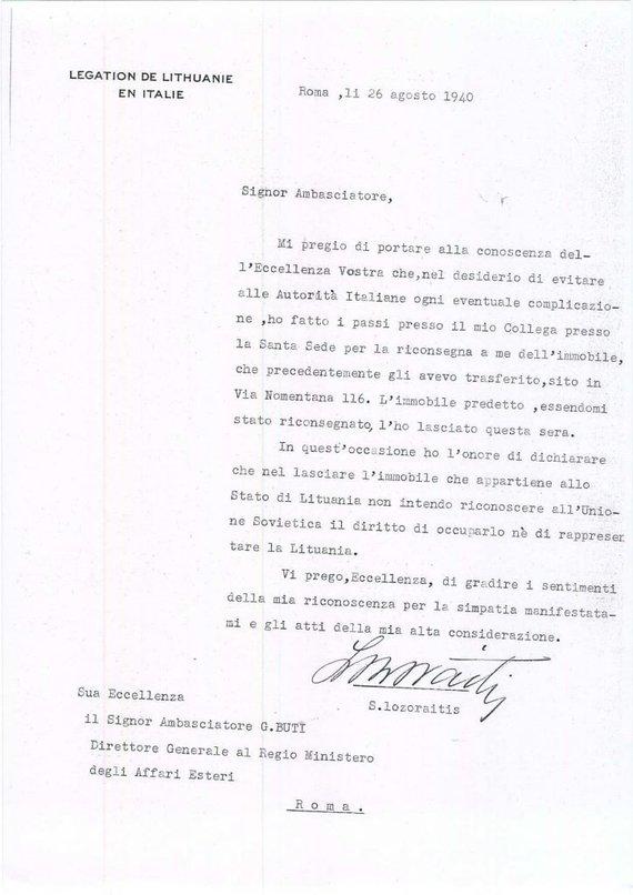 LR ambasados Italijoje archyvų nuotr./S.Lozoraitis Italijos URM praneša paliekantis Villa Lituania, tačiau pažymi, kad sovietų teisių į pastatą nepripažįsta