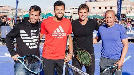 ATP World Tour nuotr./Fabio Fogninis, Jo-Wilfriedas Tsonga, Malekas Jaziri ir Hichamas Aziri
