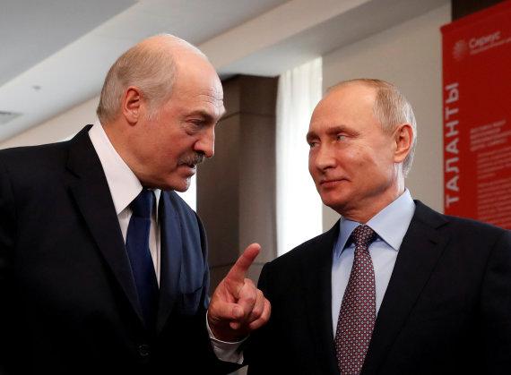 """Reuters""/""Scanpix"" nuotr./Aliaksandras Lukašenka ir Vladimiras Putinas"
