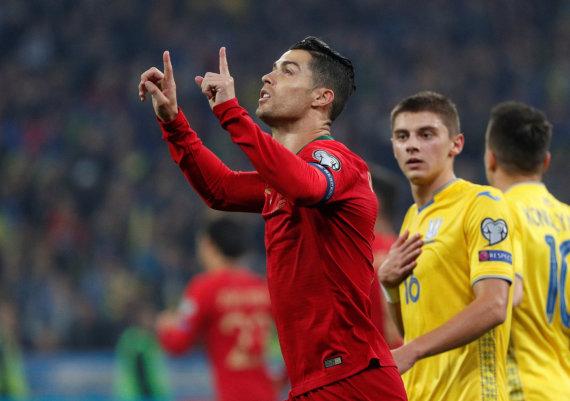 """""""Reuters""""/""""Scanpix"""" nuotr./Cristiano Ronaldo įvartis Ukrainoje buvo 700-asis."""