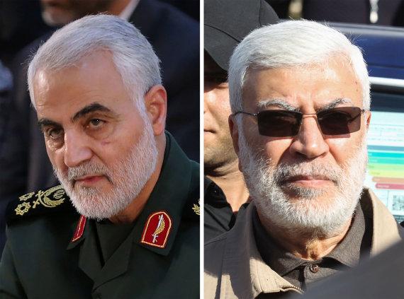 """AFP/""""Scanpix"""" nuotr./Qasemas Soleimani ir """"Hashed al Shaabi"""" sukarintų pajėgų vado pavaduotojas Abu Mahdi al Muhandisas"""