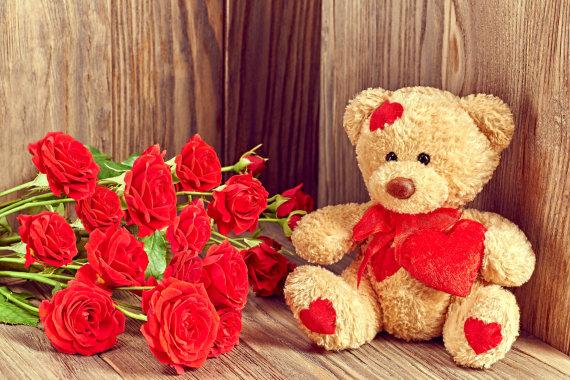 """""""Fotolia"""" nuotr./Meškutis ir raudonos rožės"""