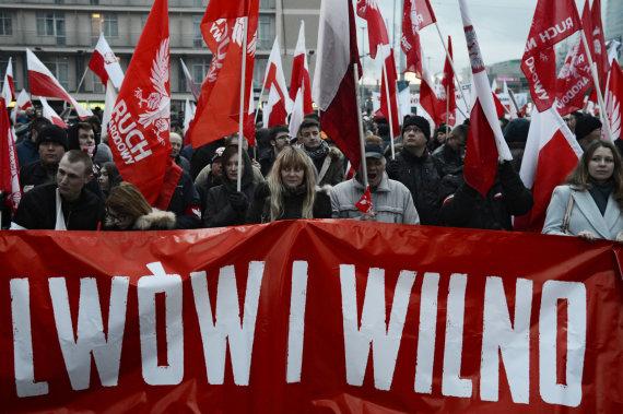"""Sputnik""/""Scanpix"" nuotr./Nacionalistų eisena Varšuvoje"