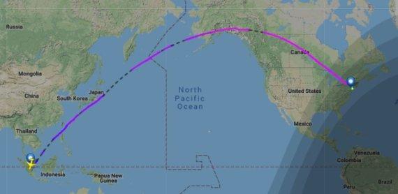 flightradar24.com iliustr./Skrydis iš Singapūro į Niujorką
