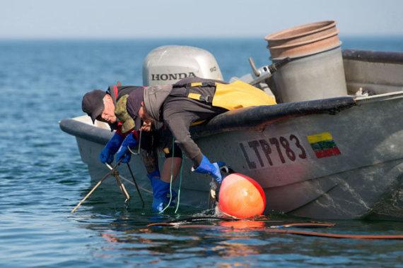 Western Express Photo / Ngư dân đã sẵn sàng: một cái bẫy với một mẻ lưới sẽ nổi lên ngay lập tức từ mặt nước. Tùy thuộc vào thời tiết, phải mất 2-4 người để bắt được bẫy.