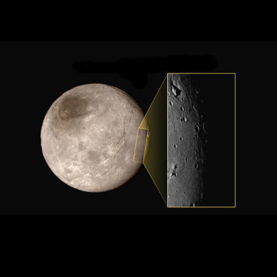 NASA/New Horizons nuotr./Išdidintas Plutono palydovo Charono fragmentas
