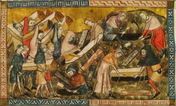 Wikimedia Commons / Public Domain pav./Prancūzijoje laidojamos maro aukos, ~1350 m. piešinys