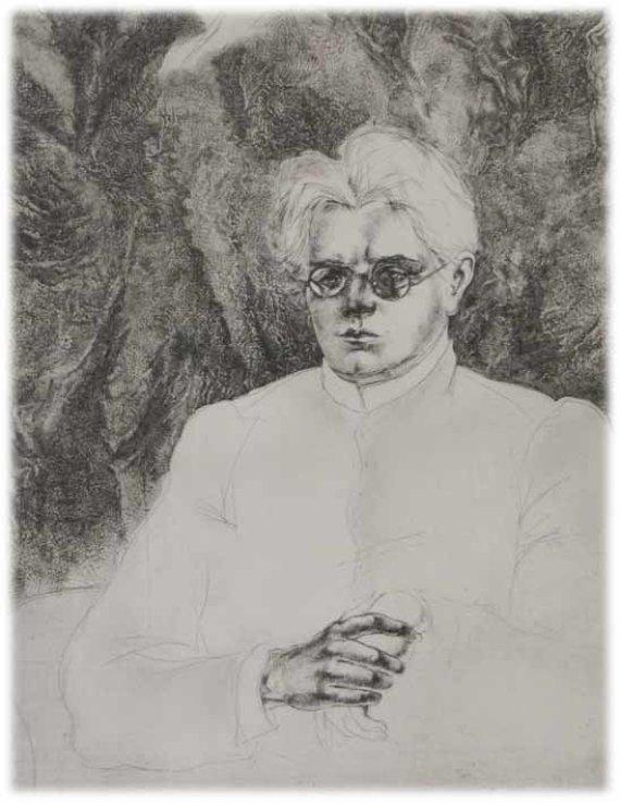 """Maironio lietuvių literatūros muziejaus nuotr./Ž.Liugailaitės-Bielinienės darbas """"Šviesusis Vaižgantas"""", 1988 m."""