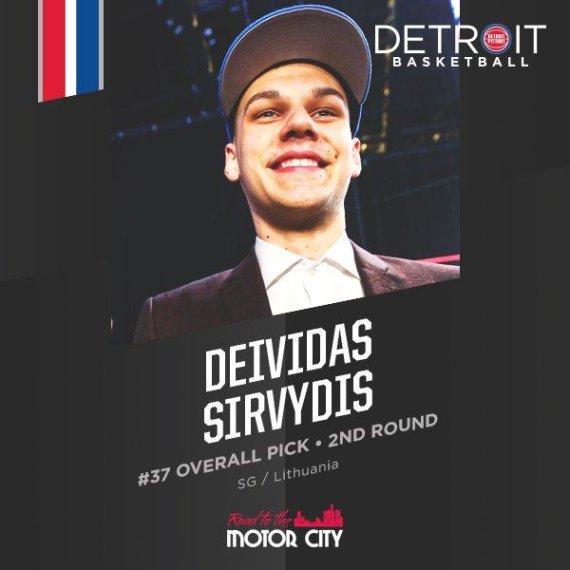 """""""Twitter"""" nuotr./Deividas Sirvydis jau oficialiai pristatytas kaip """"Pistons"""" narys"""
