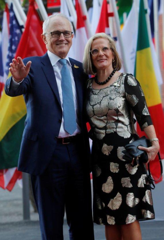 """""""Reuters""""/""""Scanpix"""" nuotr./Australijos premjeras Malcolmas Turnbullas su žmona Ucy Turnbull"""