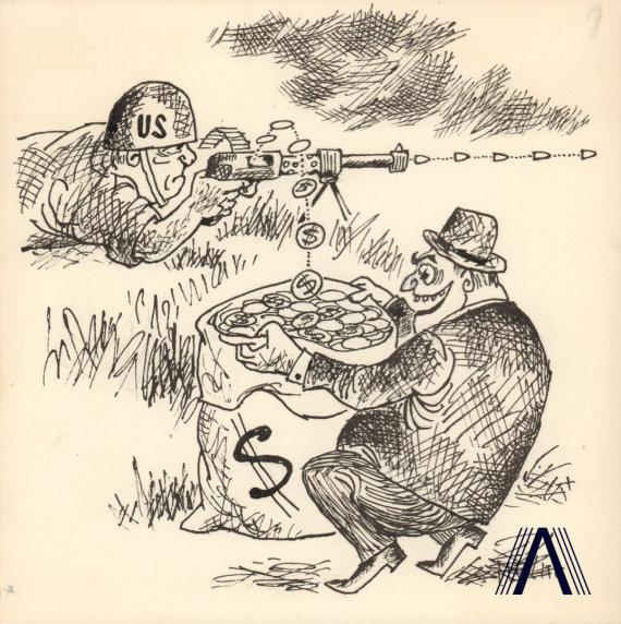 karikatūra iš www.archivesofculture.com/Jono Dociaus 1969 m. sukurta antikapitalistinė karikatūra